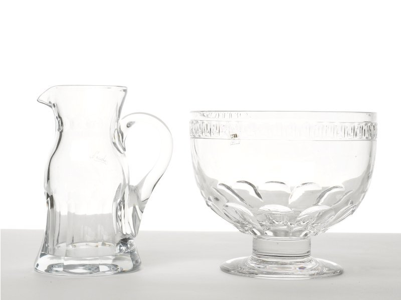 146: Crystal Water Pitcher and Bowl