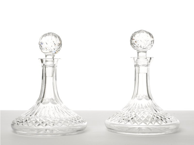 148: Pair of Compressed Crystal Ship Decanters