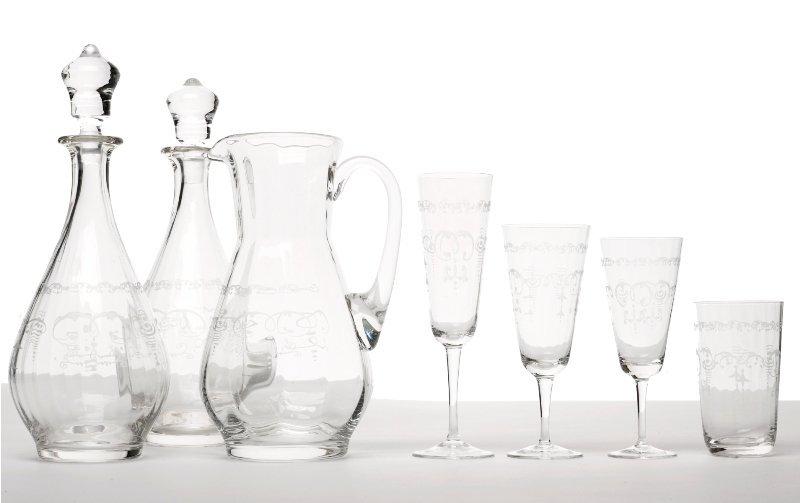 159: Suite of Engraved Crystal Stemware