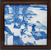 315: Chinese Framed Blue and White Porcelain Plaque