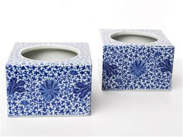 331: Pair of Chinese Blue and White Square Brushpots
