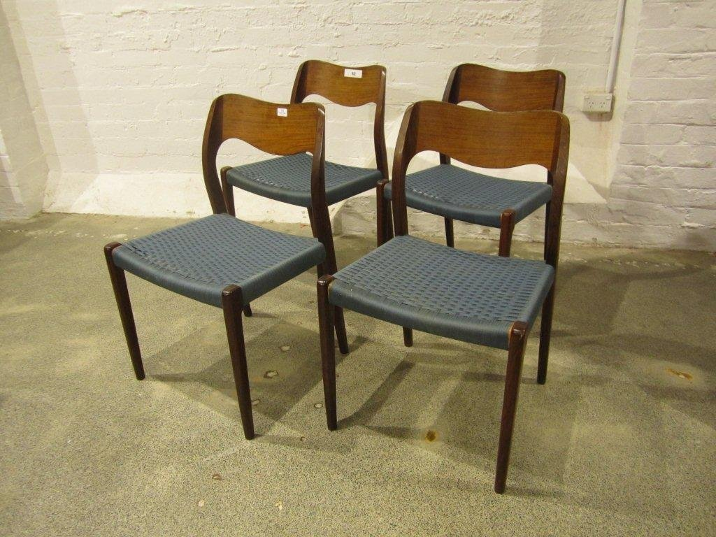 13: Niels Otto Møller Four #71 Dining Chairs