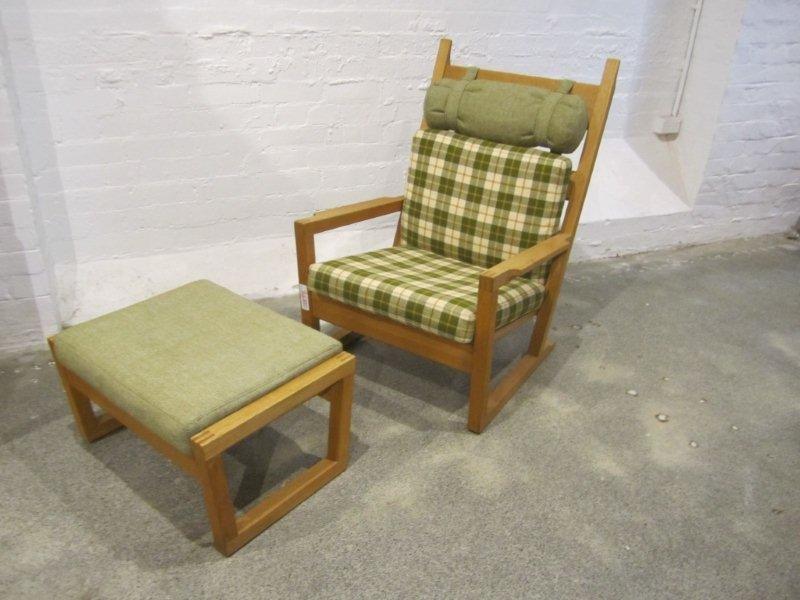 19: Wegner Style Oak High Back Easy Chair