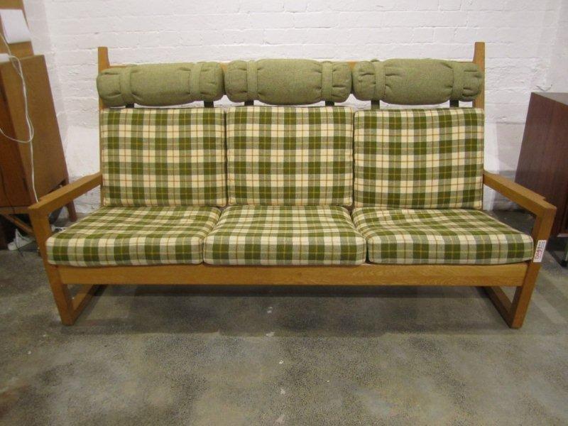 20: Wegner Style Oak Three Seater Sofa