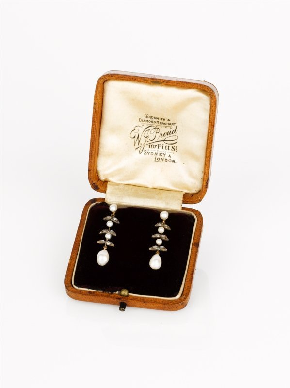 2: A Pair of Edwardian Natural Pearl and Diamond Earrin