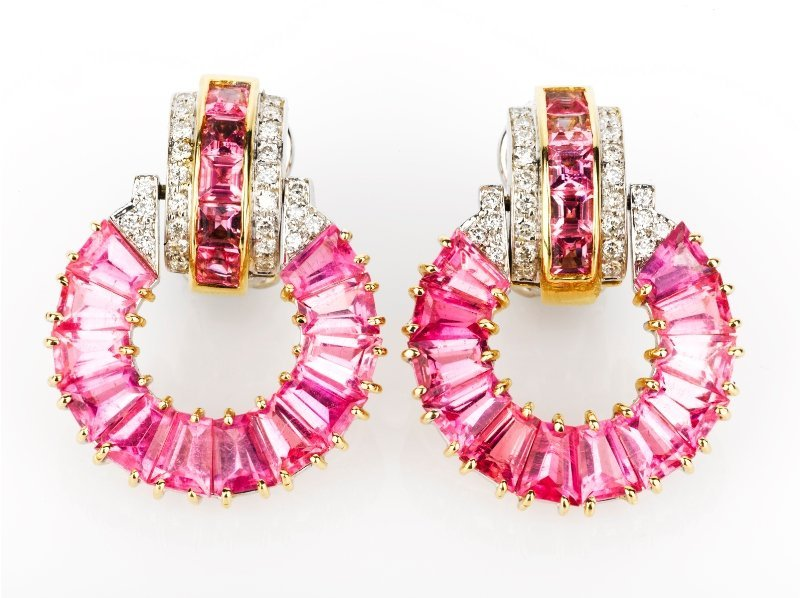 20: Pair of Pink Tourmaline and Diamond Earrings