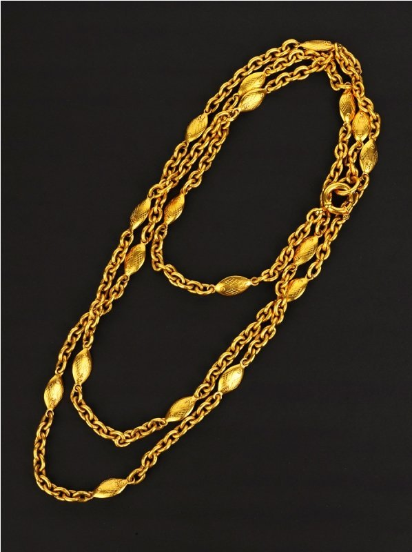 93: Chanel Gold Tone Chainlink Long Necklace