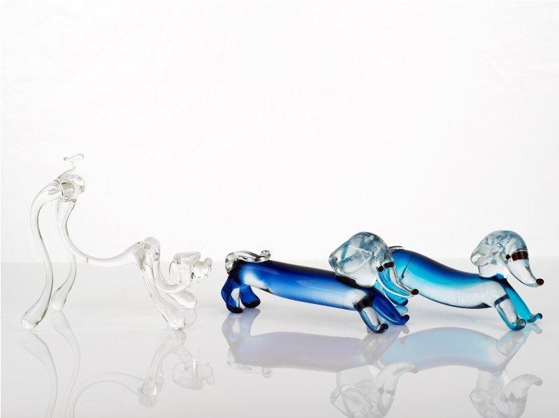 363: Three Murano Glass Dachshunds