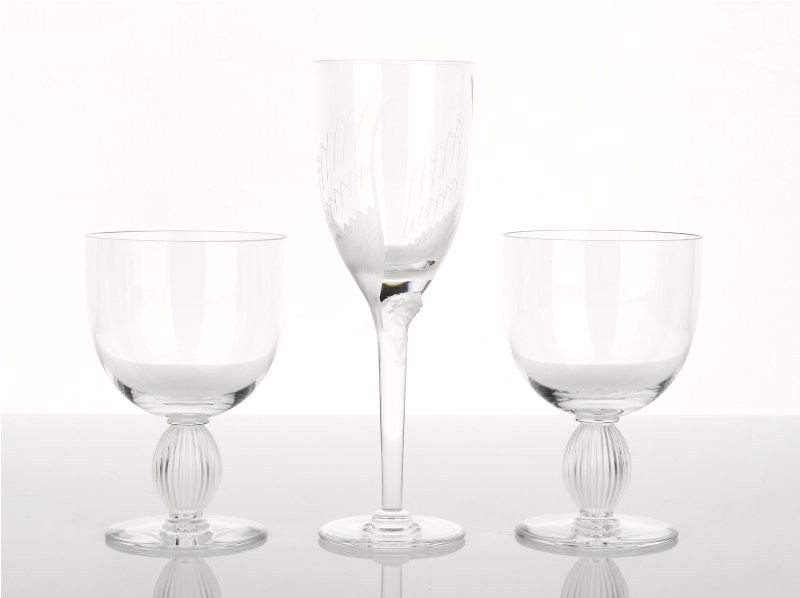 365: Lalique Angel Wine Glass with Pair of Langeais Ste
