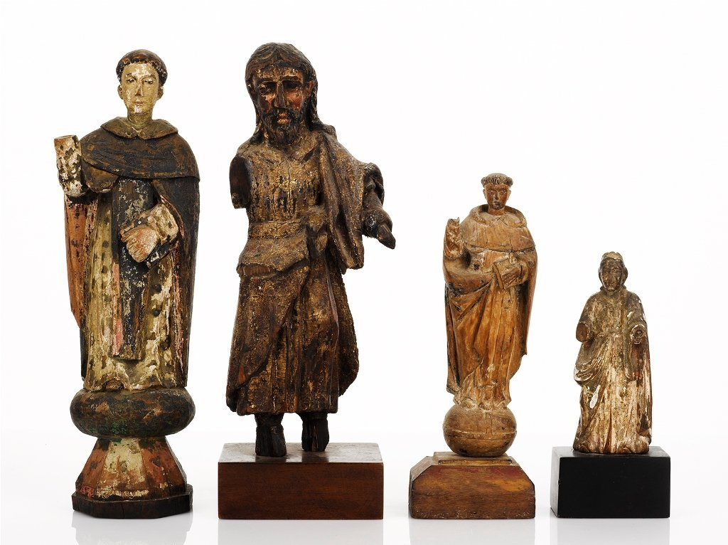 24: Four Carved and Polychromed Painted Santos Figures