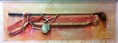 37: Tim Storrier (b. 1949), Wood Shot Baggage & Cup 198