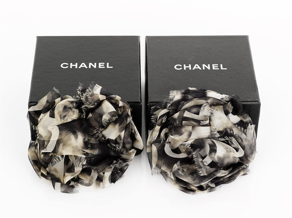 17: CHANEL, Pair of Silk Camellia Pin Brooches
