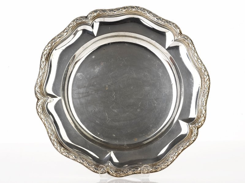 Pair of 800std Silver Soup Plates, 19th Century