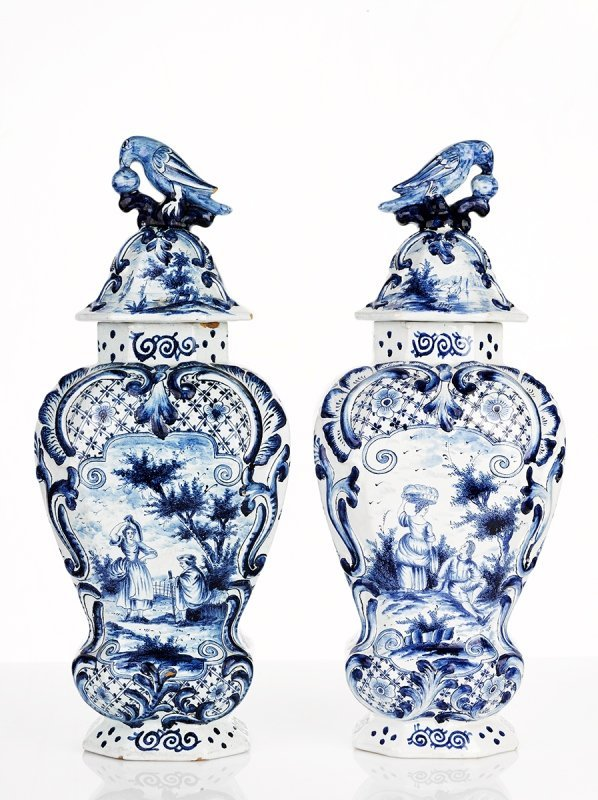 Dutch Delf, Pair of Blue and White Vases, late 18th Cen
