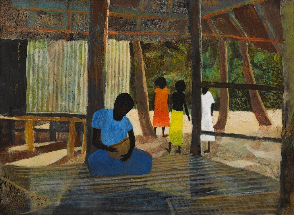 Ray Crooke (b. 1922), Man with Basket, Sagavana Village