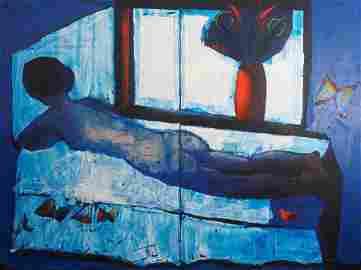 Charles Blackman (b. 1928), Blue Nude 1989