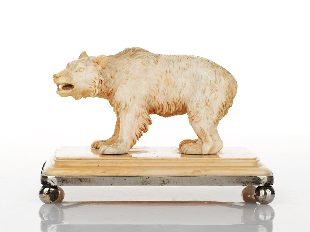 Russian Carved Ivory Figure of a Snarling Bear, c. 1900