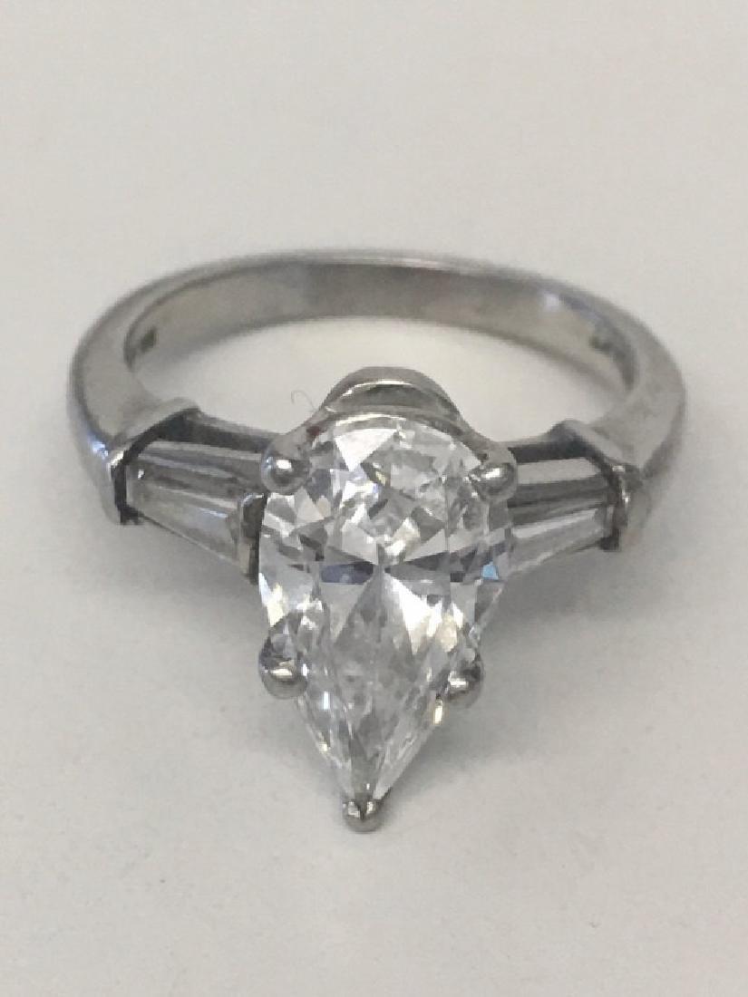 2.02 CARAT PEAR SHAPED DIAMOND SET IN PLATINUM
