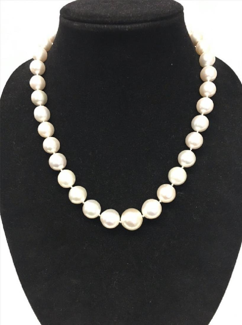 """20"""" STRAND OF SOUTH SEA PEARLS W/ SILVER CLASP"""