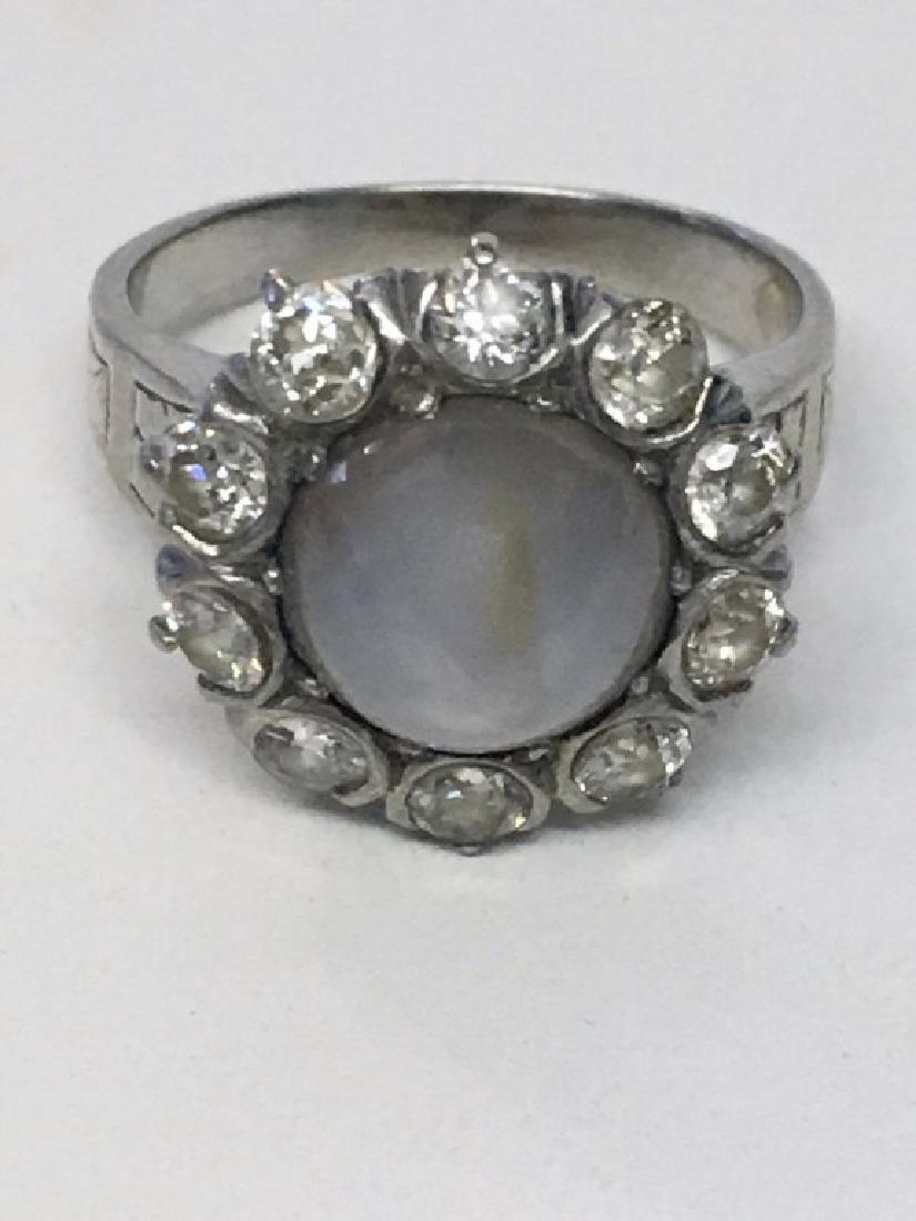 STAR SAPPHIRE & MINE CUT DIAMOND RING SET IN
