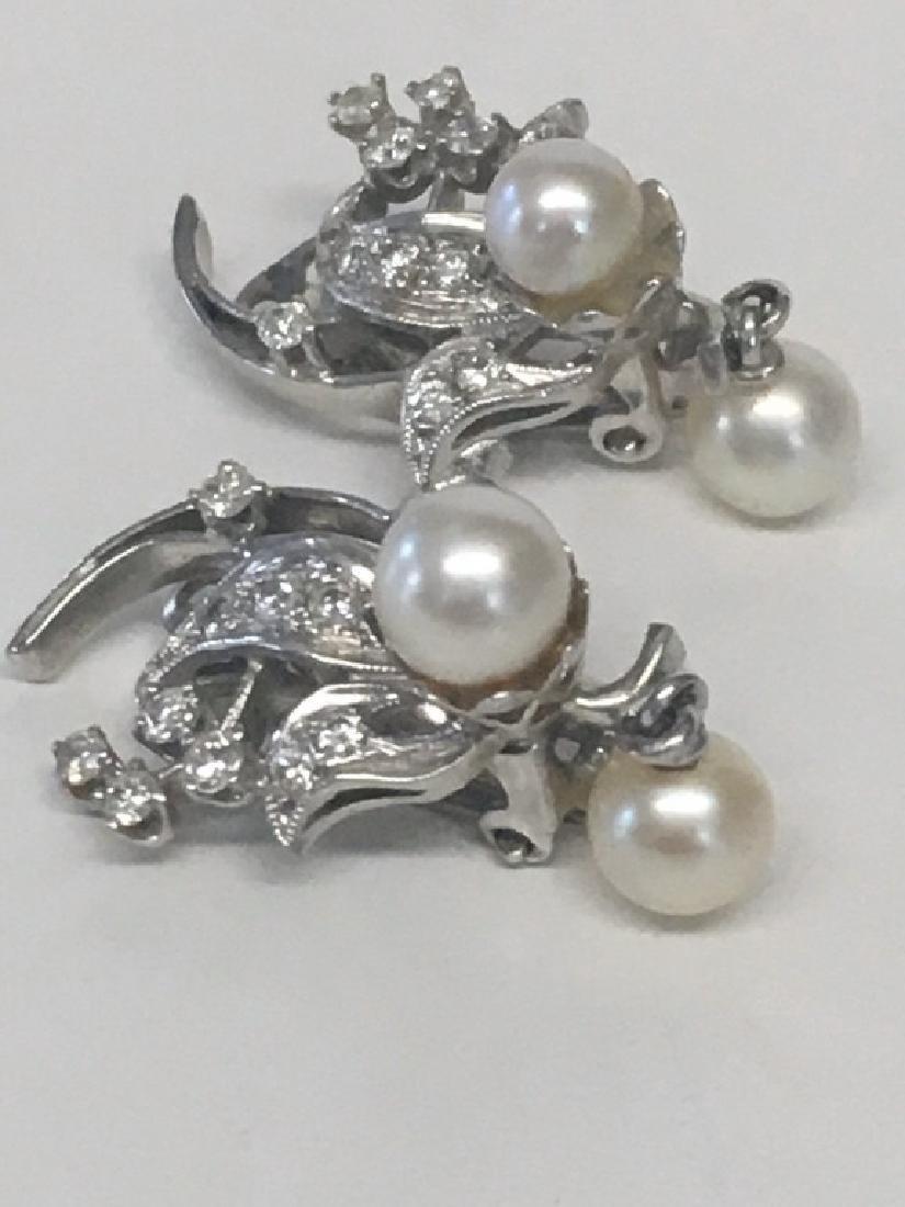 PR OF DIAMOND & PEARL EARRINGS SET IN 14K