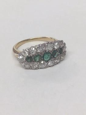 EMERALD & DIAMOND LADIES RING PLATINUM TOPPED