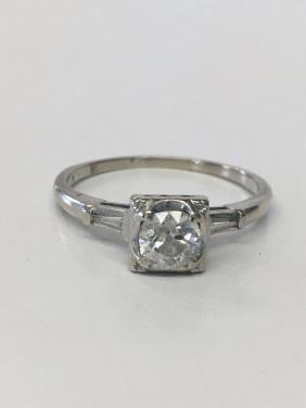 DIAMOND SOLITAIRE SET IN 14K WHITE GOLD W/ DIAMOND