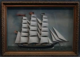 "DIORAMA OF CLIPPER SHIP ""MAGGIE"" 3 MASTED"