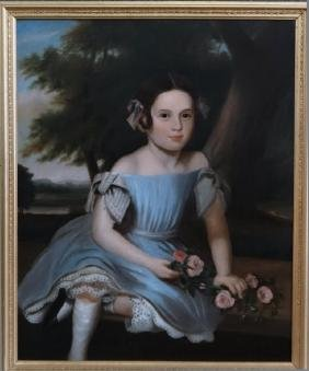 AMERICAN SCHOOL PORTRAIT OF A YOUNG GIRL