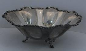 """STERLING SILVER FOOTED 12"""" FRUIT BOWL HAND CHASED"""