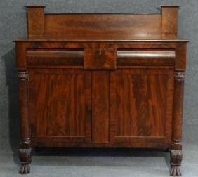 AMERICAN CLASSICALLY CARVED MAHOGANY SIDEBOARD