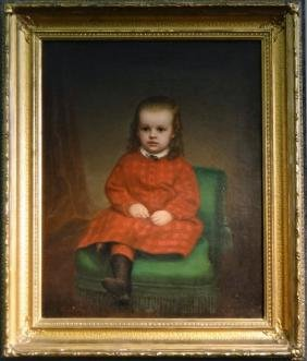 O/C PORTRAIT OF A YOUNG GIRL IN RED, 19THC.