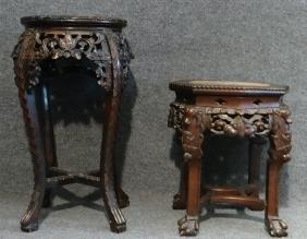 2 CARVED ORIENTAL TEAKWOOD TABLES W/ MARBLE