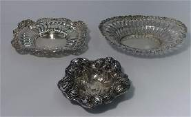3 STERLING SILVER CANDY DISHES : 2 BY WHITING