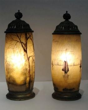PR OF DAUM NANCY CAMEO GLASS VASE ACCENT LAMPS