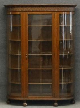 CARVED GLASS OAK CRYSTAL CABINET