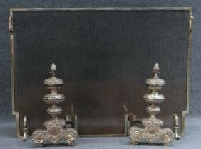 PR OF SILVERED BRASS ROCOCCO STYLE ANDIRONS