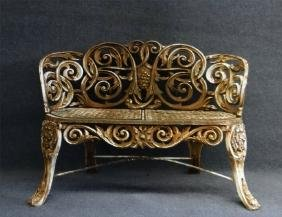 VICTORIAN CAST IRON ROCOCO STYLE BENCH