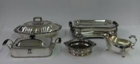 5 SILVER PLATED SERVING PCS. SAUCE BOAT, 2 WARMING