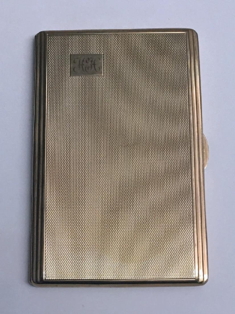 9KT GOLD CIGARETTE CASE, MONOGRAMED H.H. 1952 - - 2