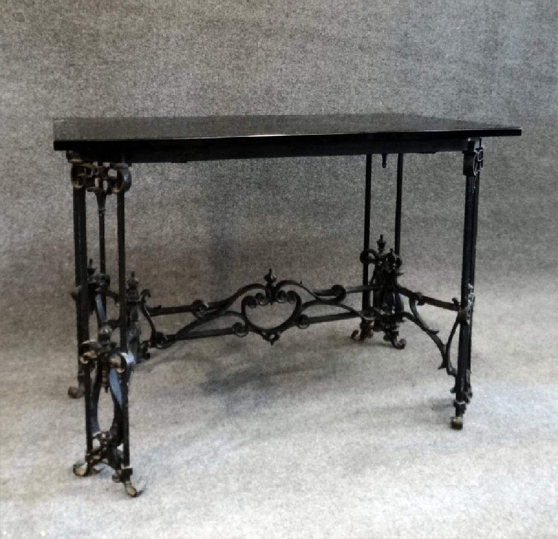 INSPIRED CAST IRON TABLE BASE BLACK GLASS