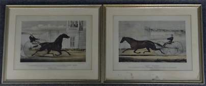 PR OF SM FOLIO CURRIER  IVES HORSE RACING PRINTS