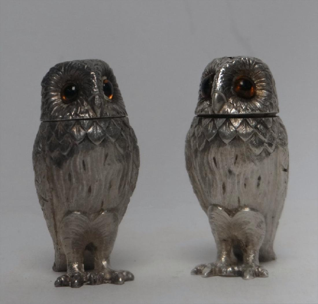 TIFFANY FIGURAL STERLING SILVER S & P OWLS