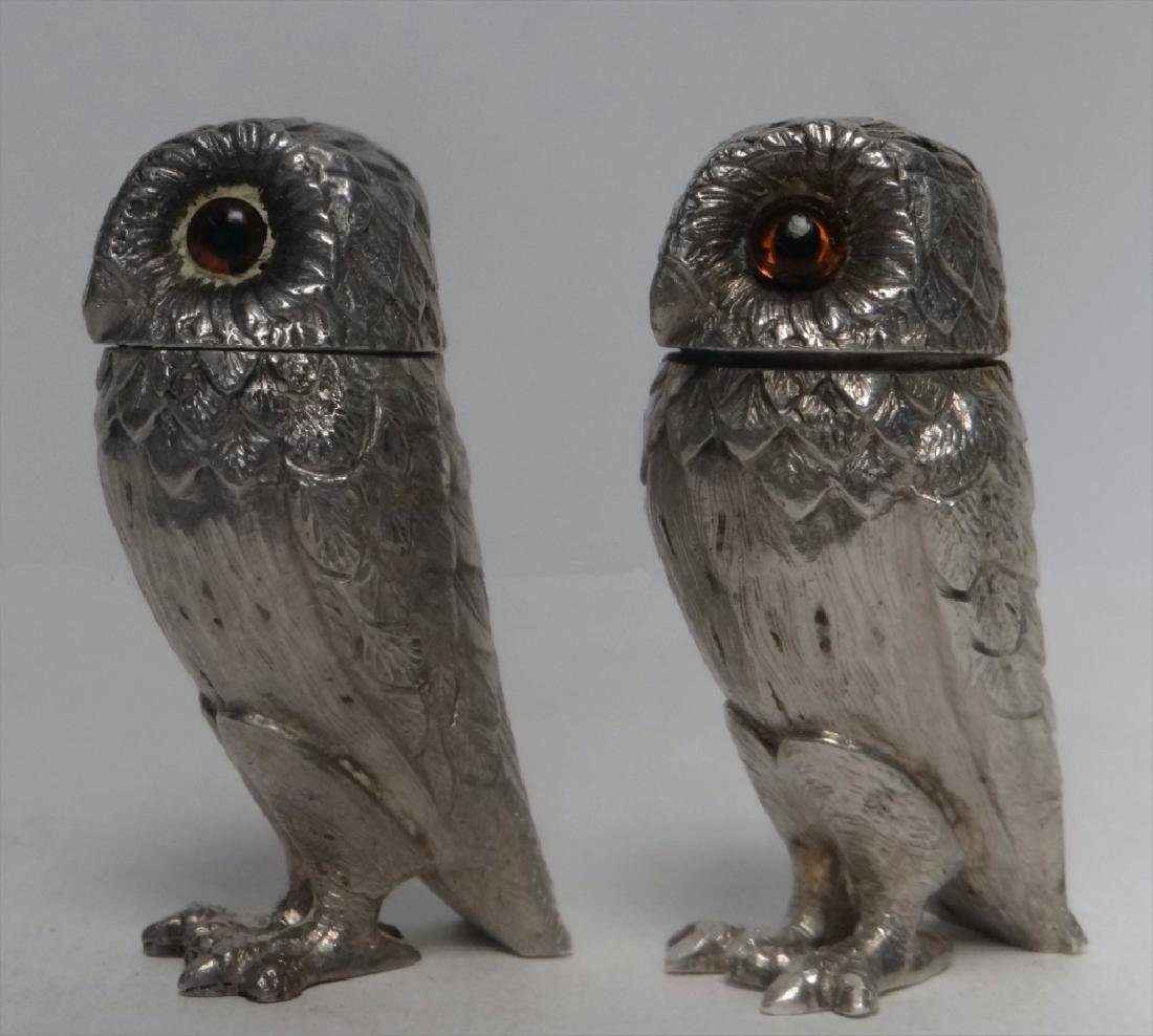 TIFFANY FIGURAL STERLING SILVER S & P OWLS - 2