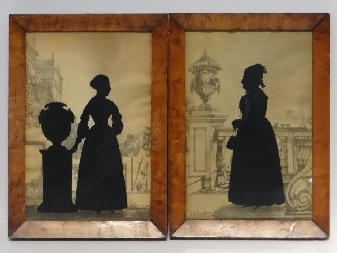 PR OF SILHOUETTES SGND AUG.  EDOUART, 1840