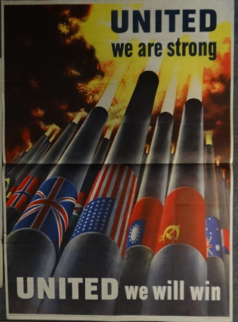 6 WWII PERIOD POSTERS: UNITED WE ARE STRONG, - 2