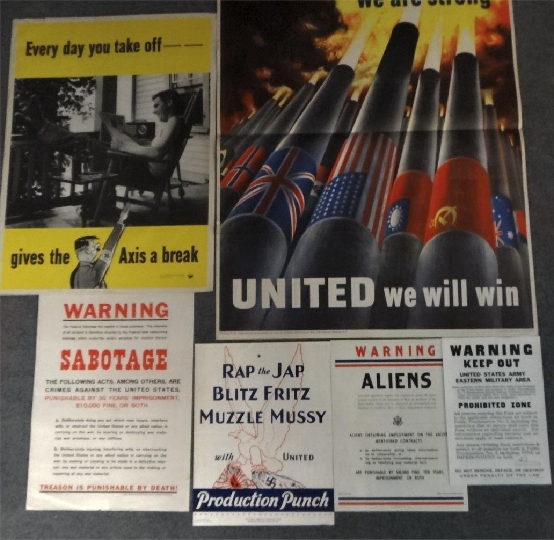 6 WWII PERIOD POSTERS: UNITED WE ARE STRONG, - 8