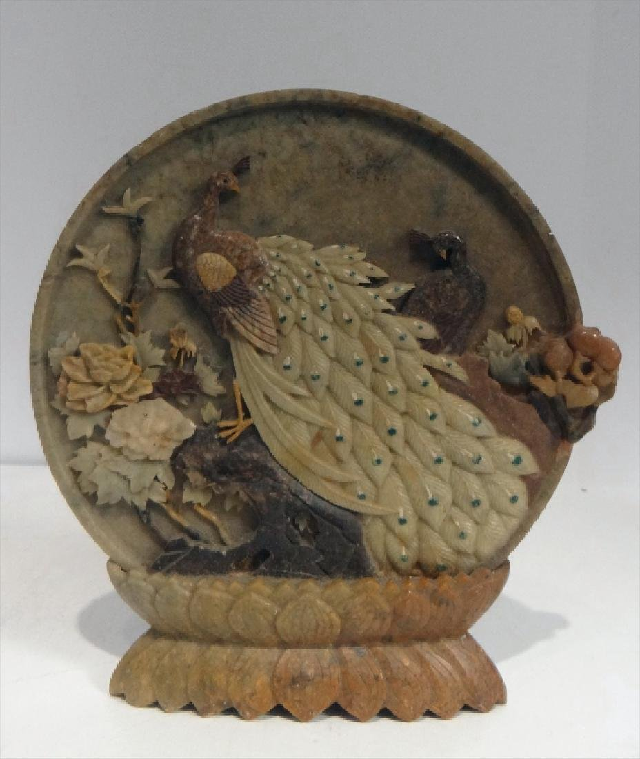 MARBLE BI DISC & SOAPSTONE CARVED BIRD OF PARADISE - 3
