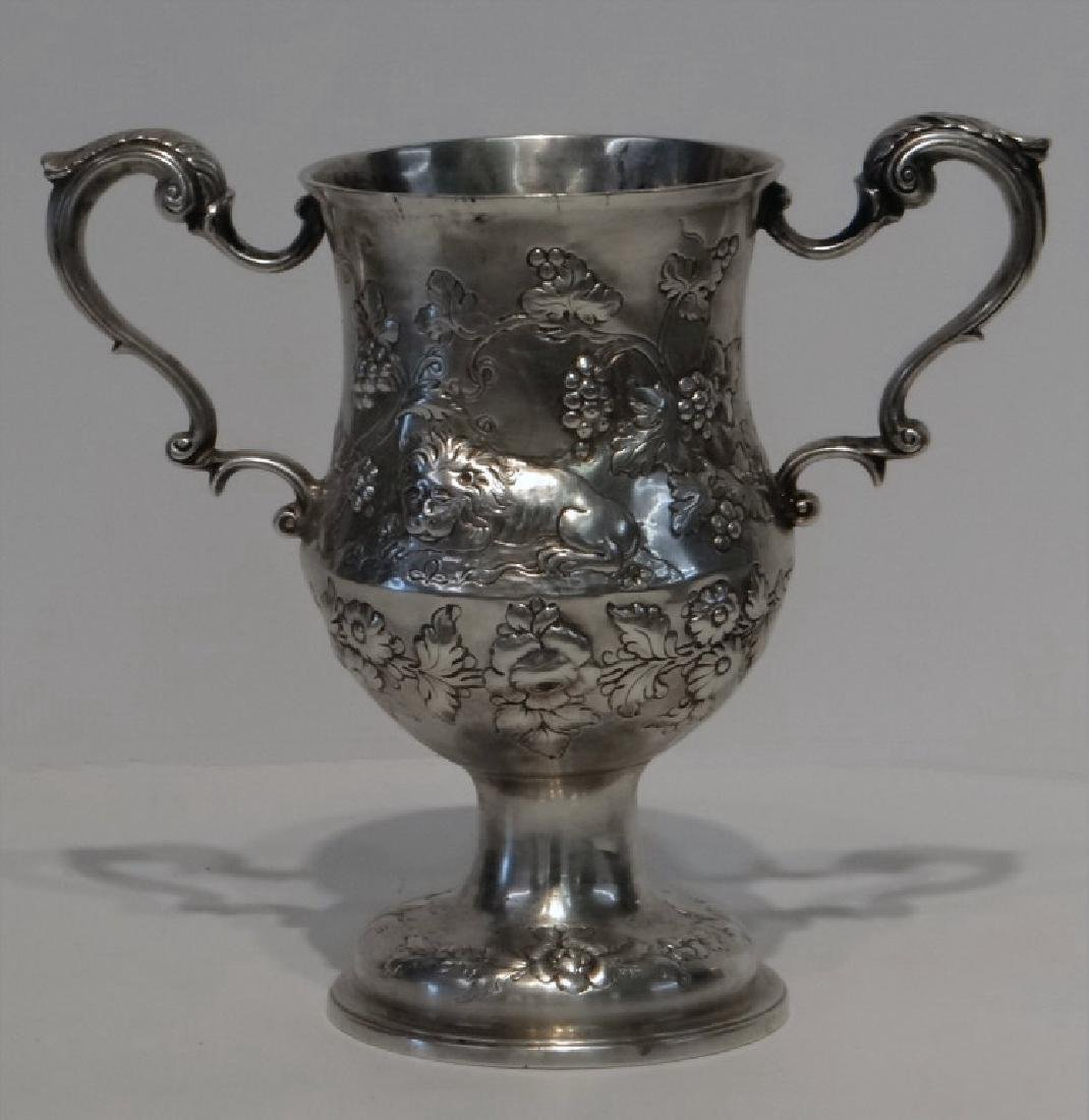 IRISH STERLING DOUBLE HANDLED CUP C.1770 W/