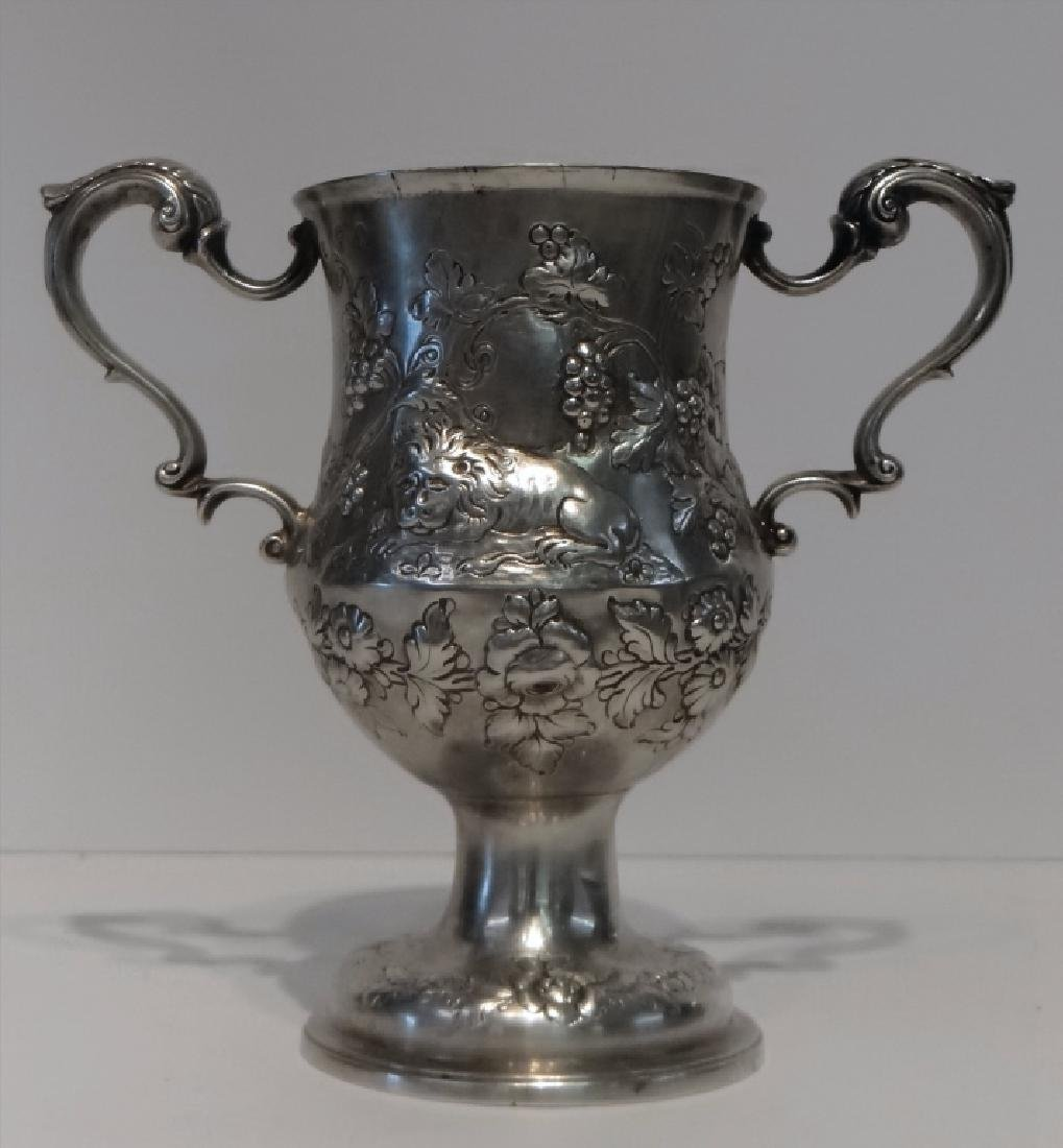 IRISH STERLING DOUBLE HANDLED CUP C.1770 W/ - 3